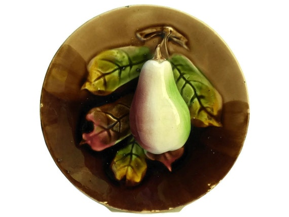 Antique Majolica Pear Plate. Orchies French Ceramic Palissy Fruit And Leaf Plate. Kitchen Wall Decor.