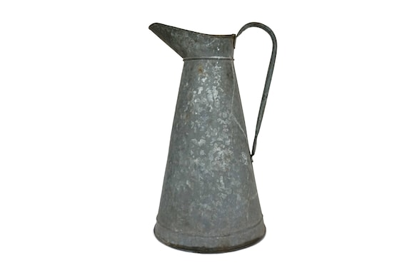 Rustic French Zinc Pitcher, Galvanized Watering Can, Country Garden Decor