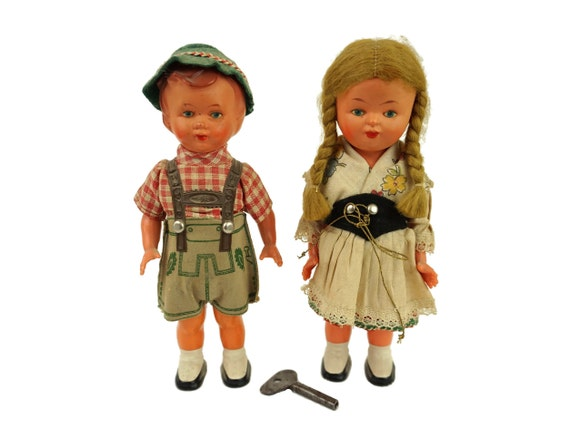 Vintage Bavarian Windup Dancing Dolls, West Germany Folk Mechanical Figurines
