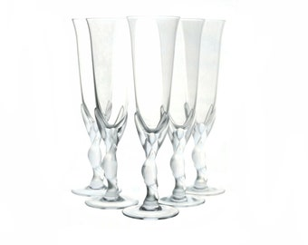 Faberge Crystal Kissing Dove Champagne Flutes Set of 5, French Wine Glasses