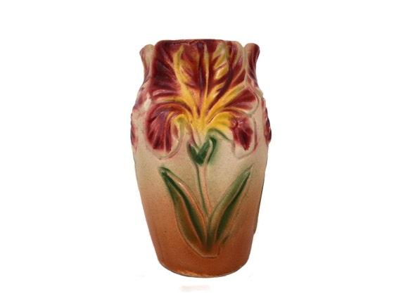 Art Nouveau Iris Flower Vase, Antique French Majolica