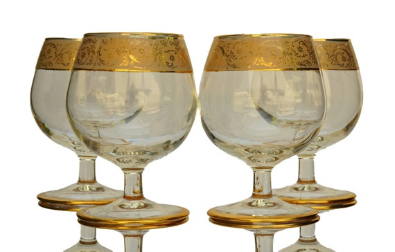 French Gold Liqueur Glass Set of 4, Vintage Brandy Goblet, Glassware and Bar Gifts