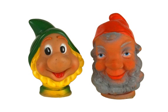 Gnome and Dwarf Toy Hand Puppet Set, Vintage Kids Room Decor
