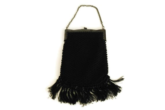 Black Crochet Purse with Tassels and Chain Handle. French 1920s Fashion Evening Bag. Vintage Boho Handbag.