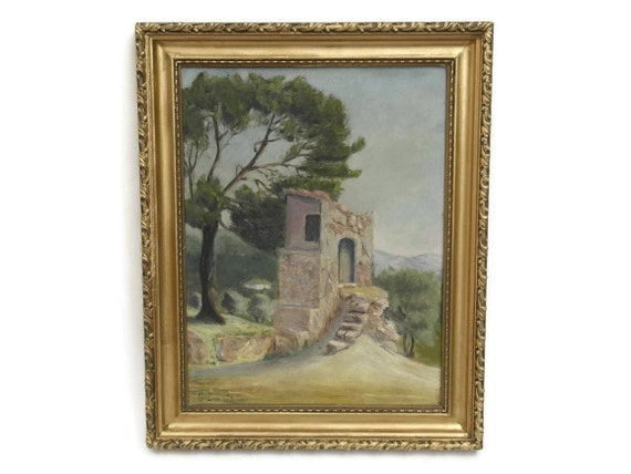 Antique Stone Ruins in Provence Landscape Painting, Original French Art, Home and Wall Decor