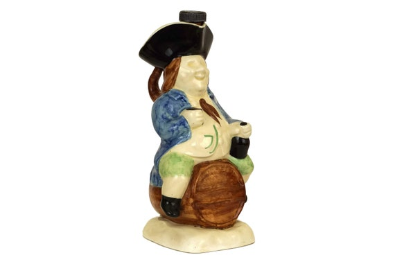 Exshaw Cognac Vintage Decanter, Pottery Character Jug of Man on Barrel