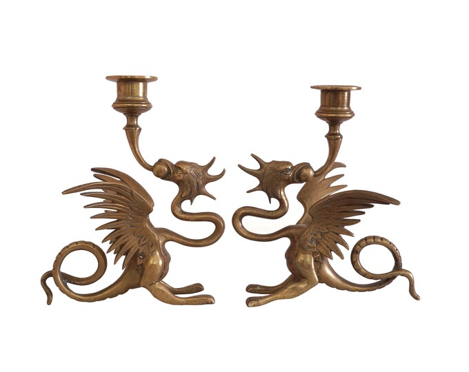 Antique Brass Dragon Statue Candleholders, French Mythology Figurines