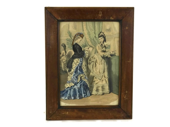 Victorian Fashion Illustration in Wooden Frame. Antique French Fashion Print.