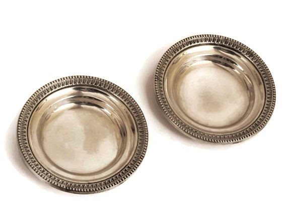 Camusso Sterling Silver Pin Dish, Pair of Vintage Peruvian Silverware Coin Trays