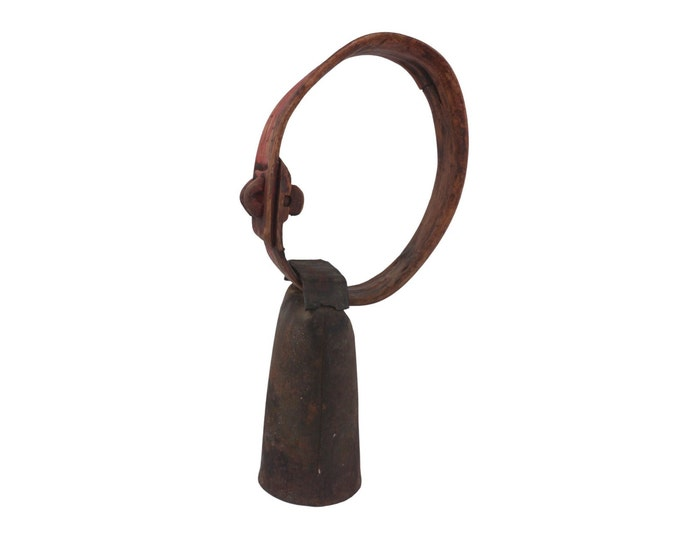 Antique French Goat Bell with Carved Wood Collar, Rustic Cabin Doorbell and Cottage Decor