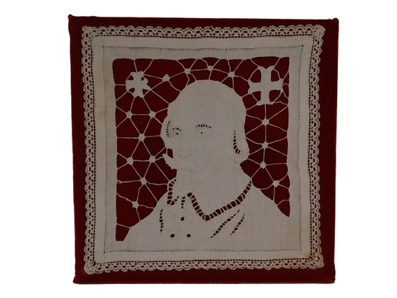 Antique French Richelieu Cutwork Embroidery with Cardinal Portrait, Handmade Needlework linen and Lace Panel