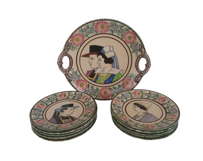 HB Quimper Cake Service Set with Hand Painted Breton Woman and Man Portraits, Faience Dessert Plates and Platter