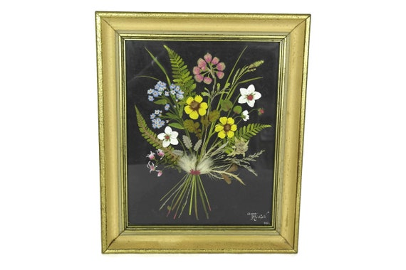 Dried Flower Art Bouquet in Frame, French Vintage Framed Floral Arrangement, Rustic Home Wall Decor, Gifts For Gardener