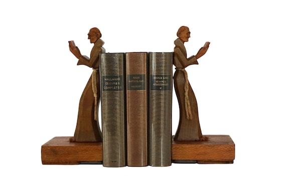 Wooden Monk Figurine Bookends, Carved Wood Art Deco Bookshelf and Desk Decor