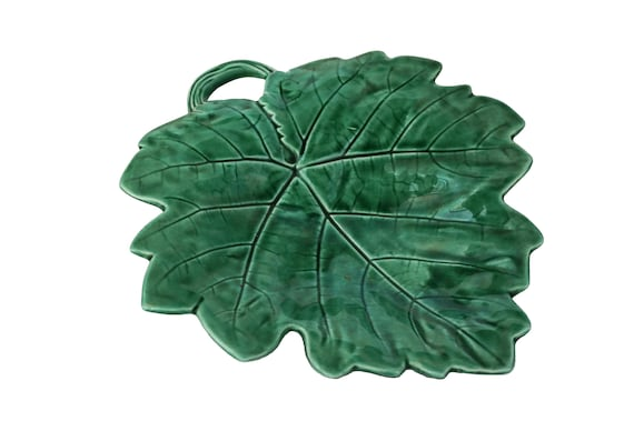 Antique Green Majolica Leaf Plate, French Sarreguemines Ceramic Grape Serving Dish