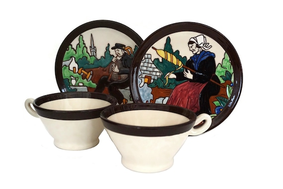 HB Quimper Pottery Cup and Plate Pair, Georges Renaud French Breton Faience Breakfast Set for 2