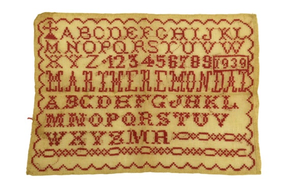 Antique French Redwork Sampler, Cross Stitch Alphabet and Number Embroidery