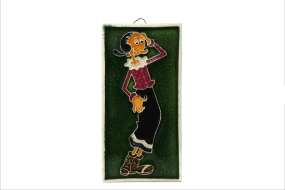 Vintage Olive Oyl Portrait Wall Hanging, Hand Decorated Ceramic Tile