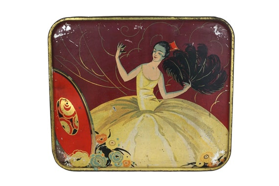 Art Deco Lady Portrait Tin Box, French Antique Candy Box