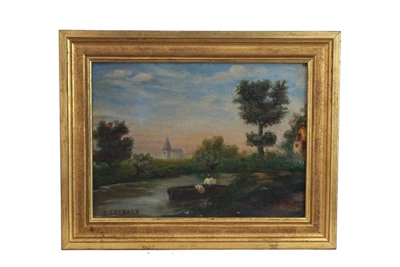French Country Landscape Painting with River and Church, Original Signed Art