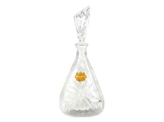 Vintage Bavarian Crystal Decanter. Cut Lead Crystal Liqueur Bottle. Perfume Bottle.