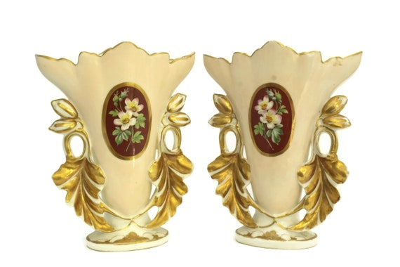 Pair of Antique  Porcelain of Paris Wedding Vases