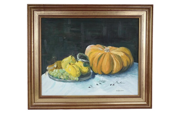 French Still Life Oil Painting with Fall Fruit and Vegetable, Original Kitchen Wall Art