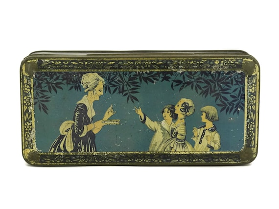 Art Deco Tin Sweet Box, Antique French Blue Candy Box with 1920s Lady and Children, Romantic Caiffa Advertising