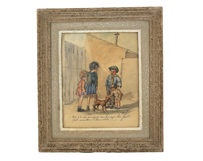 Antique French Drawing of Street Urchin Children by T Maybon, Humorous Framed Kids and Dog Art