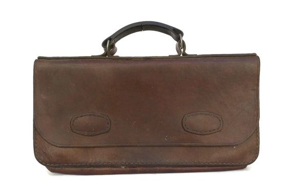 French Vintage Leather Portfolio Briefcase