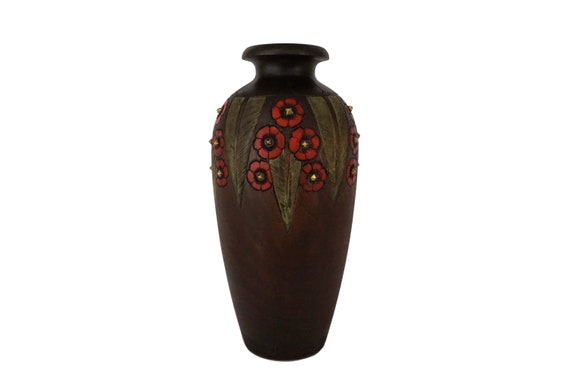 French Art Deco Wooden Vase, Carved Wood with Hand Painted Flowers