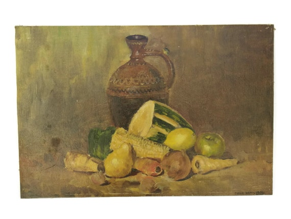 RESERVED  Rustic Still Life Art Painting with Pottery Pitcher, Fruits and Vegetables. Oil Painting. Kitchen Wall Art. Autumn Decor