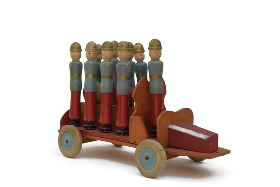 Antique Bowling Pins Firefighter Toy, Hand Painted French Fire Truck and Fireman Wooden Skittles, Nursery and Boys Room Decor, Gifts For Him