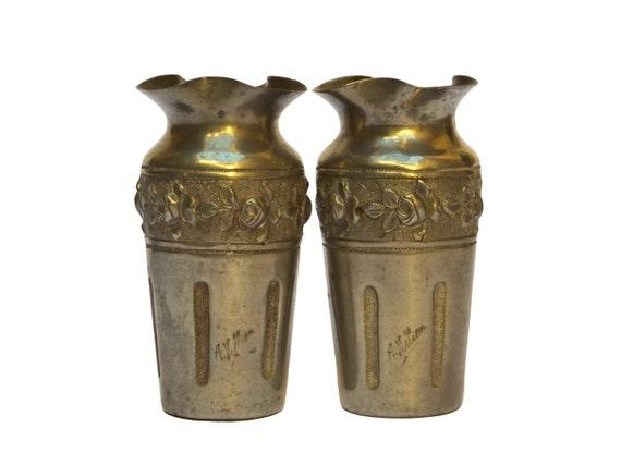 French Antique Pewter Vases by Andre Villien, Pair ofArt Nouveau Flower Bud and Stem Vases