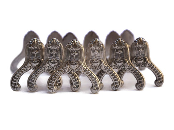 French Antique Boulenger Silver Knife Rests, 19th Century Silverware, Silver Plate Cutlery Holder