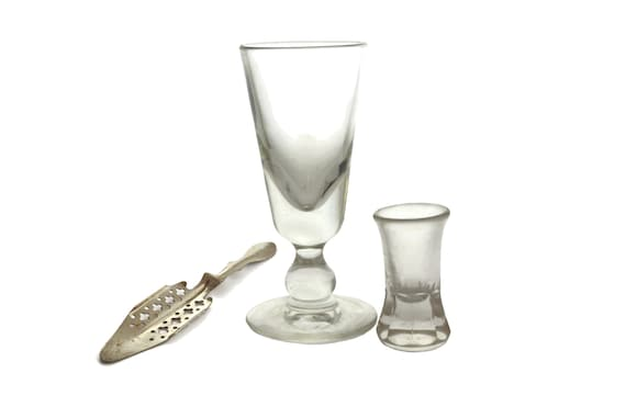 Antique Absinthe Glass, Spoon and Tot Measure Set Collectible French Glassware and Bar Gifts