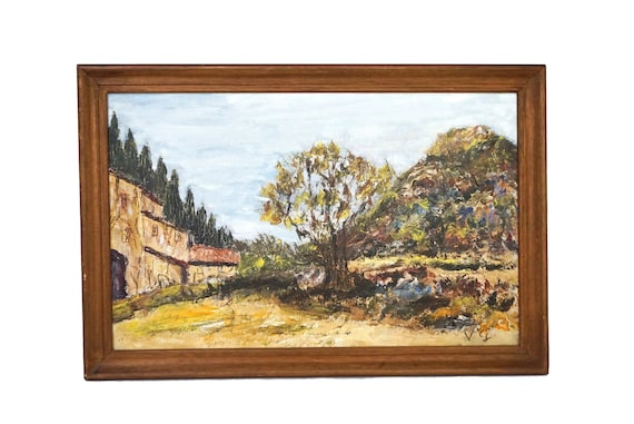 Olive Tree and Farmhouse Painting in French Country Landscape, Original Signed Art