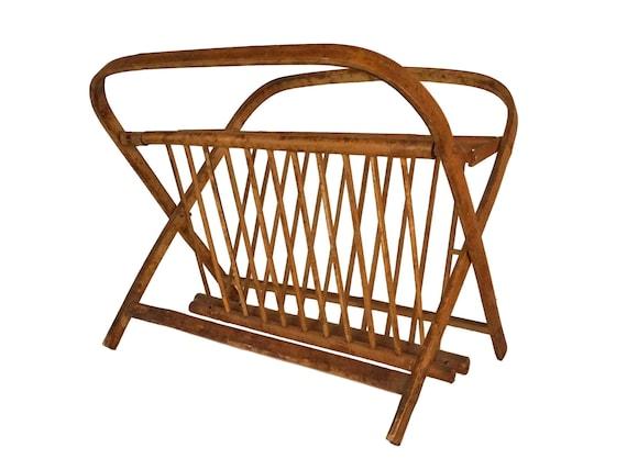 Vintage Folding Bamboo Magazine rack, Newspaper Holder, Boho Home Decor
