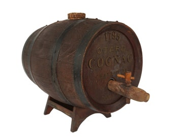 French Otard Cognac Barrel, Faux Wood Bar and Wine Cellar Decor
