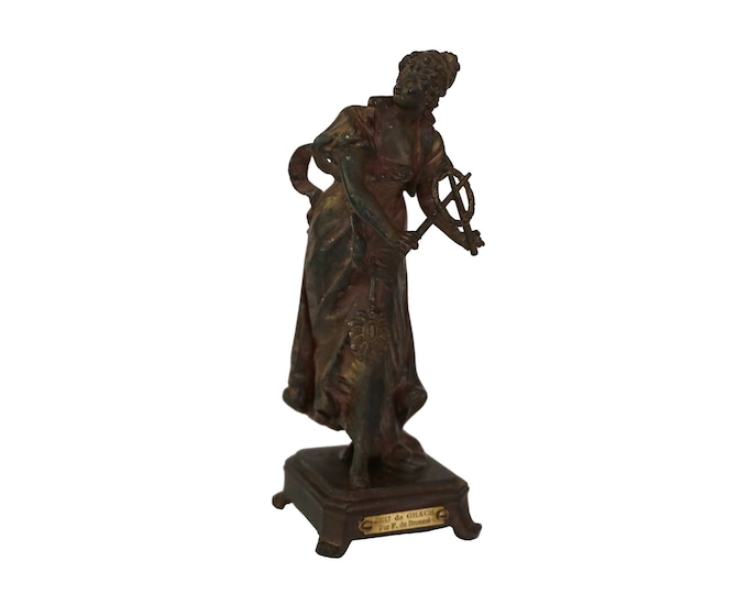 French Antique Woman Spelter Figurine, Games of Graces Statuette