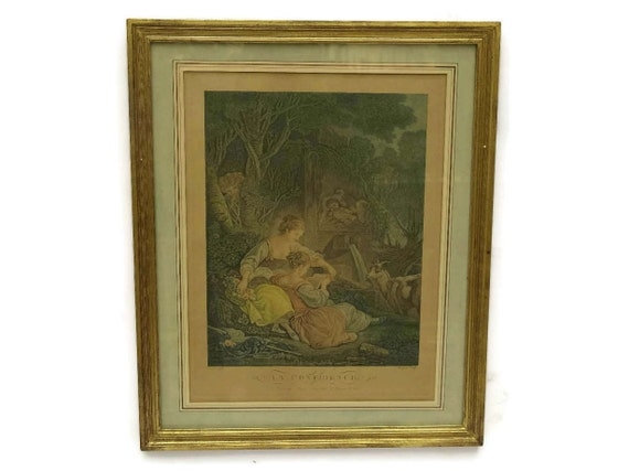 Antique French Engraving La Confidence by Bonnefoy after Boucher. Framed 19th Century Art. Romantic Boudoir Decor.