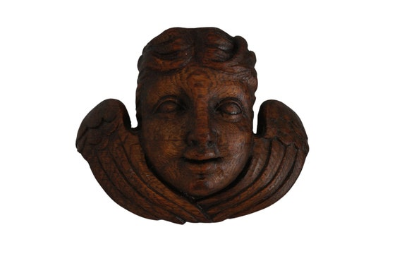 Antique Hand Carved Cherub Putti Head Figurine Candle Sconce, Angel Face Mask Wall Ornament