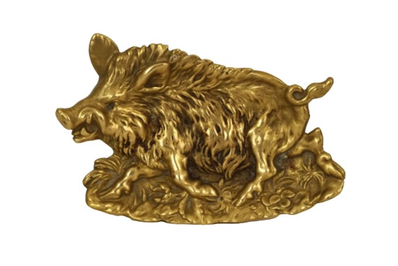 Bronze Wild Boar Figure Coin Dish, Antique Men Jewelry Tray