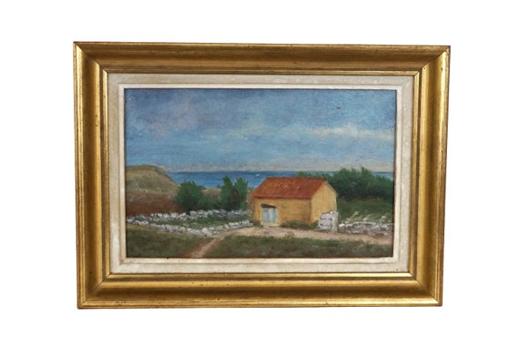 Beach Cottage and Coastal Landscape Painting, Framed French Sea Art