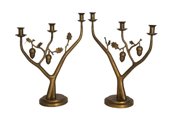Bronze Acorn and Oak Tree Candelabra Pair, French 3 Branch Candlestick Holders