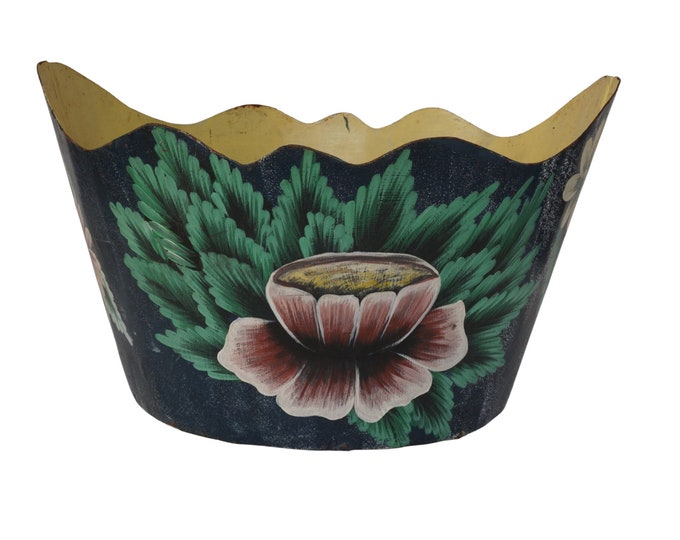 French Tole Planter Cache Pot, Vintage Hand Painted Monteith Wine Bottle Chiller