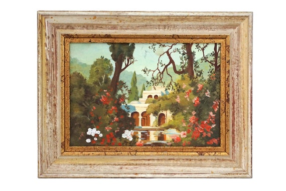 Flower Garden and House Painting, Framed Original French Art