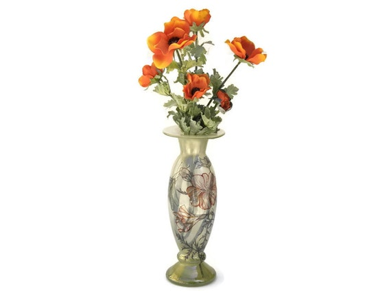 French Art Nouveau Style Vase, Hand Painted Blown Glass Poppy Vase