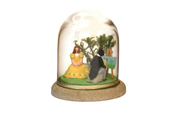 Miniature Diorama Globe with Lady figurine and Portrait Artist, French Painter and Model