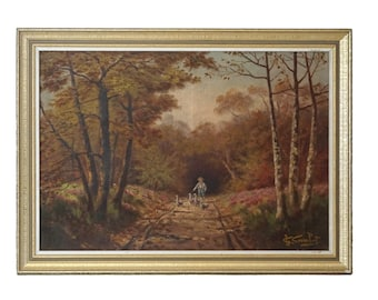 Antique Boy and Geese in Country Landscape Painting, Framed French Wall Art